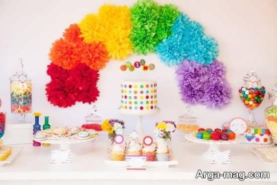 تزیینات خاص تولد با طرح رنگین کمان