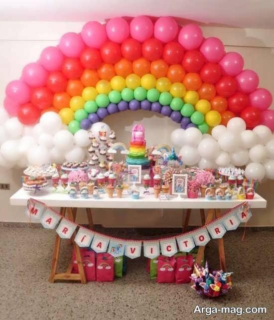 تزیینات خواستنی تولد با طرح رنگین کمان
