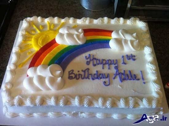 عکس کیک برای تم تولد رنگی کمانی