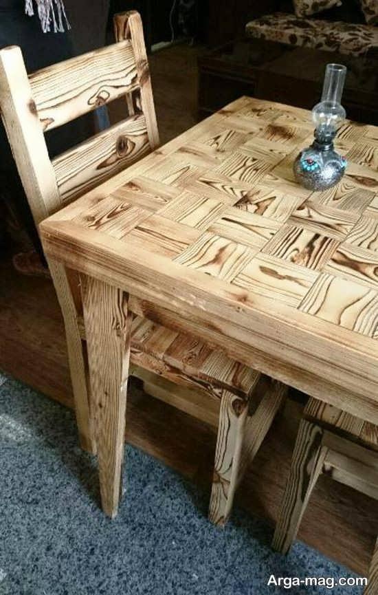 دکوراسیونی لوکس با میز و صندلی روستیک