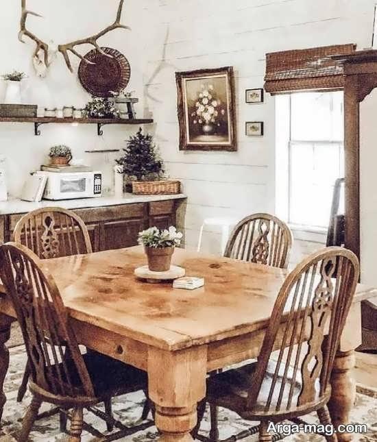 میز و صندلی روستیک برای طراحی جدید منزل