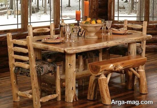 دکوراسیونی شیک با میز و صندلی روستیک
