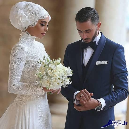 مدل عکس عروس و داماد با ژست زیبا