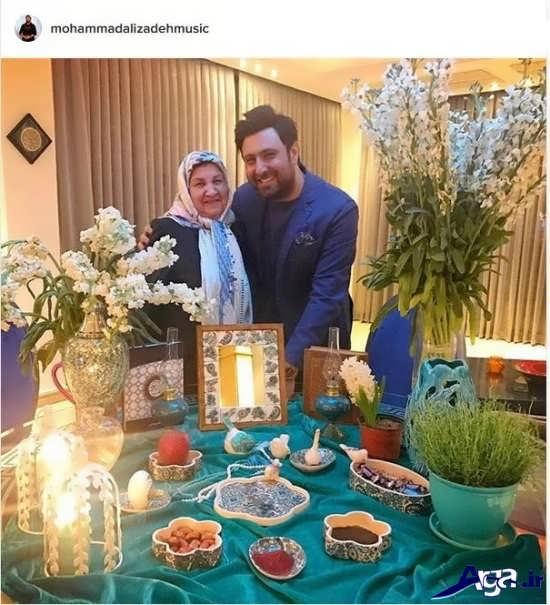 عکس محمد علیزاده و مادرش کنار سفره هفت سین
