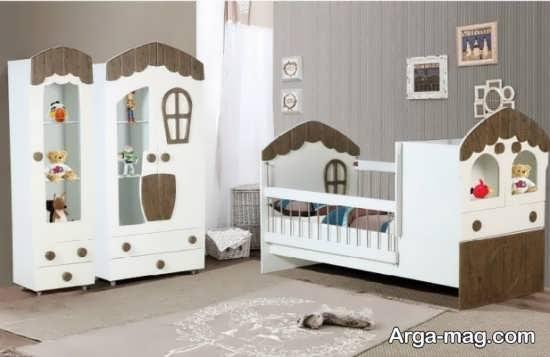 مدل چوبی تخت و کمد نوزادان