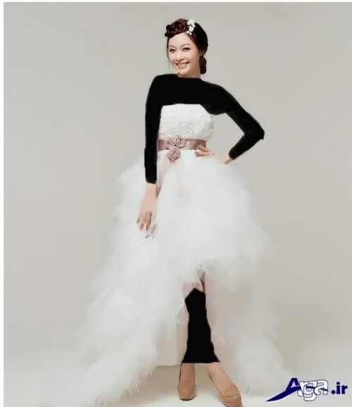 مدل لباس عروس کوتاه دنباله دار شیک