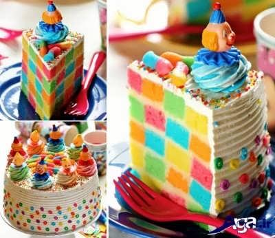 کیک شطرنجی چند رنگ
