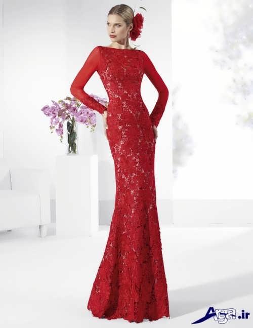 مدل پیراهن مجلی گیپور قرمز
