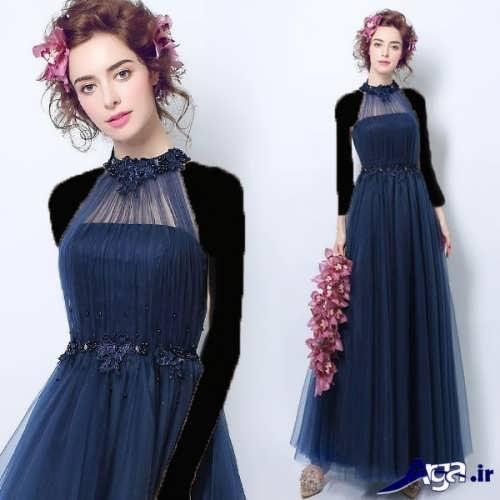مدل لباس مجلسی کار شده با تور برای خانم های لاغر