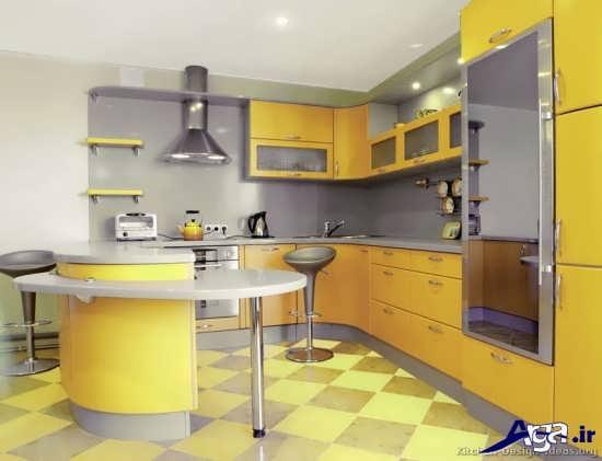 آشپزخانه زرد با دکوراسیون زیبا
