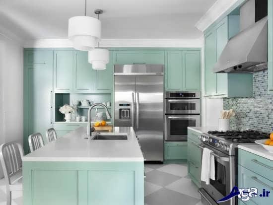 آشپزخانه با رنگ های سرد