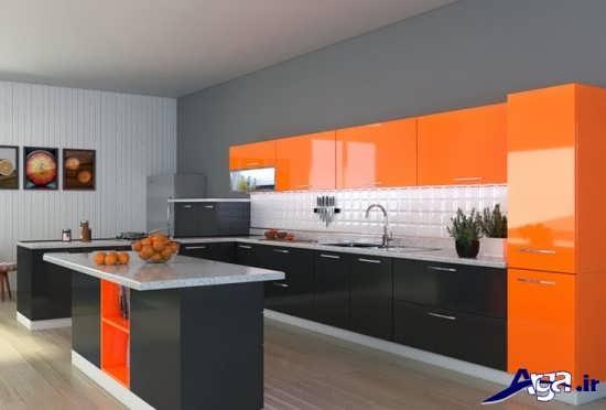 آشپزخانه نارنجی خاکستری