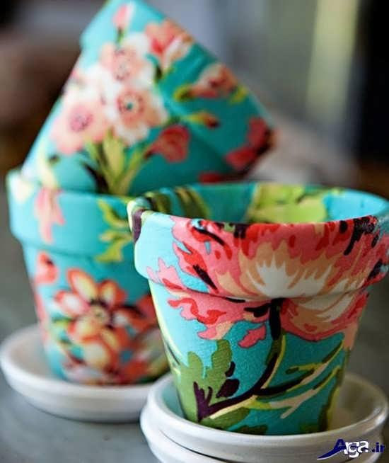 تزیین گلدان های ساده با پارچه
