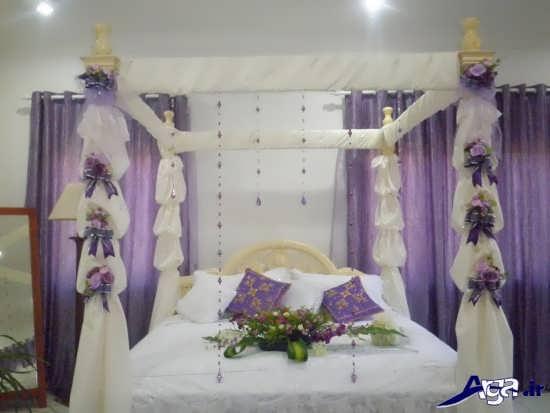 تزیین اتاق خواب عروس با گل و تور