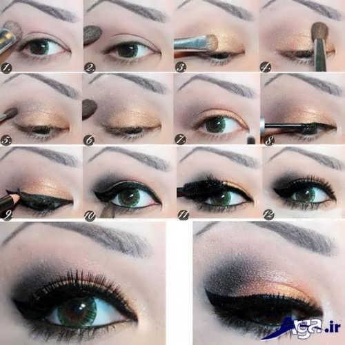 آموزش مرحله به مرحله آرایش چشم های پف دار