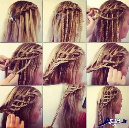 آموزش تصویری بافتن موهای بلند