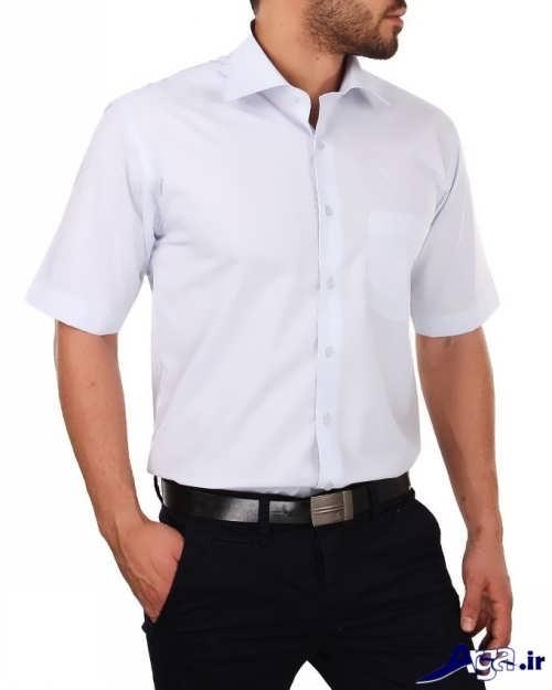 مدل پیراهن آستین کوتاه سفید مردانه
