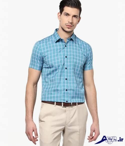 مدل پیراهن آستین کوتاه مردانه چهار خانه