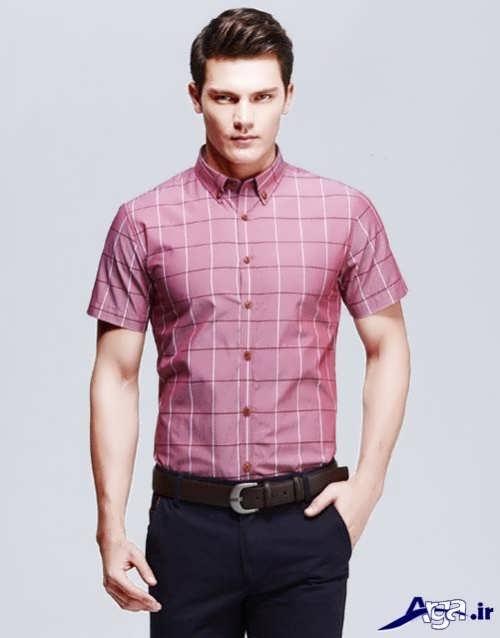 مدل پیراهن مردانه آستین کوتاه چهار خانه