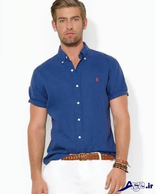 مدل پیراهن آبی تیره مردانه