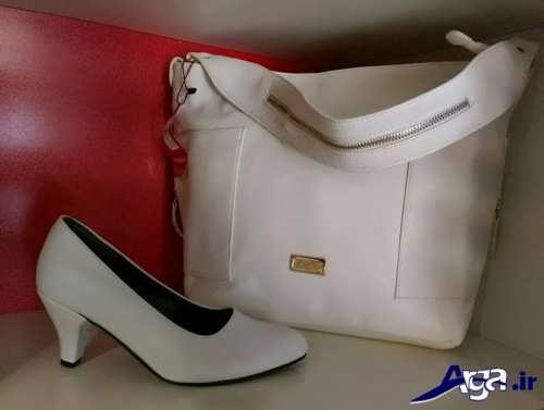 ست کیف و کفش سفید زنانه