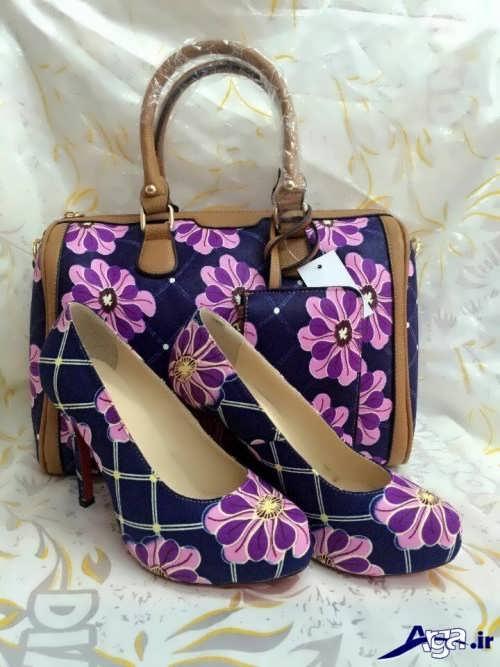 مدل کیف و کفش گلدار زنانه