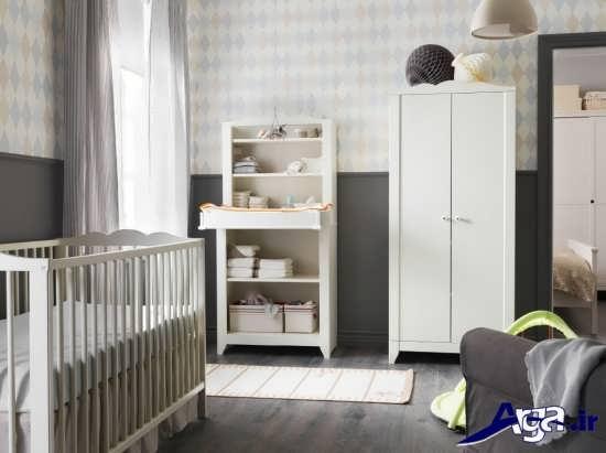 مدل تخت و کمد سفید نوزاد