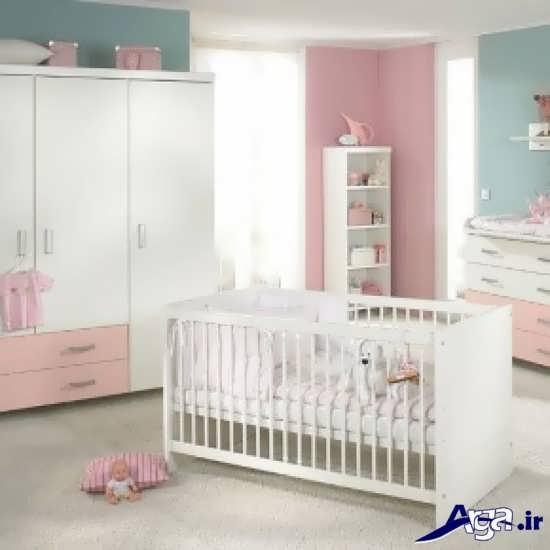 مدل تخت و کمد نوزاد با رنگ سفید