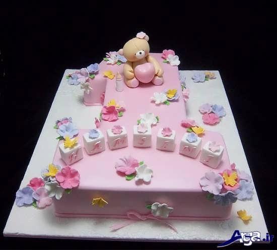 تزیین کیک تولد به شکل عدد یک