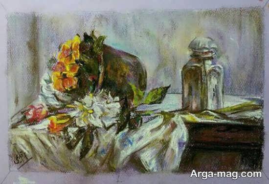 نقاشی پاستل با طرح هنرمندانه