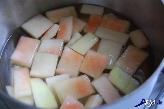 طرز تهیه مربای پوست هندوانه با آهک