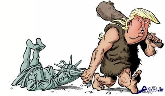مواضع سیاسی ترامپ در کاریکاتور