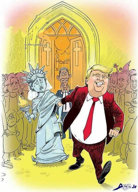 تصاویر جالب کاریکاتورهای ترامپ