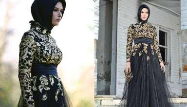 مدل لباس مجلسی بلند پوشیده با طرح های زیبا و شیک