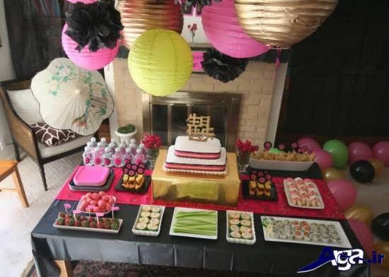 مدل تزیین میز خوردنی ها برای جشن تولد