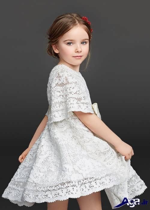 مدل لباس گیپور بچه گانه سفید