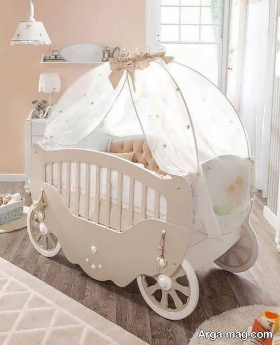 مدل تخت خواب کودک کالسکه ای