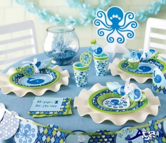 ظروف آبی برای جشن تولد پسرانه