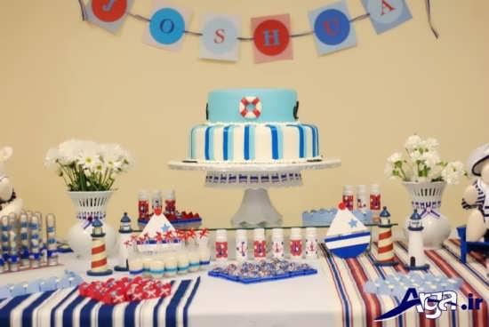 کیک آبی تزیینی زیبا برای جشن تولد