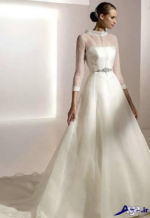 مدل لباس عروس ساتن پوشیده