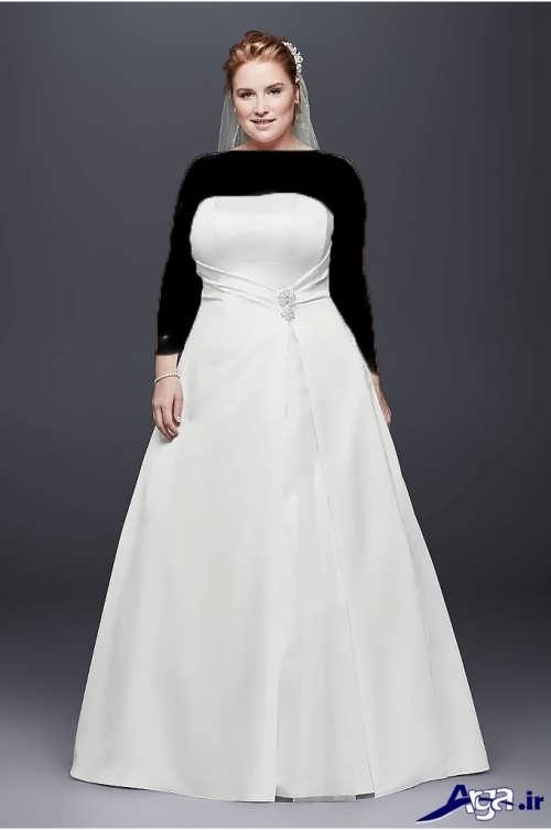 لباس عروس ساتن با سایز بزرگ