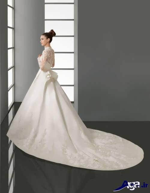 مدل لباس عروس دنباله دار ساتن