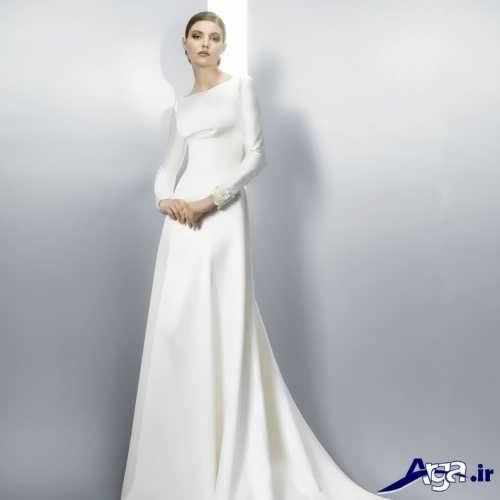 مدل لباس عروس آستین دار ساتن