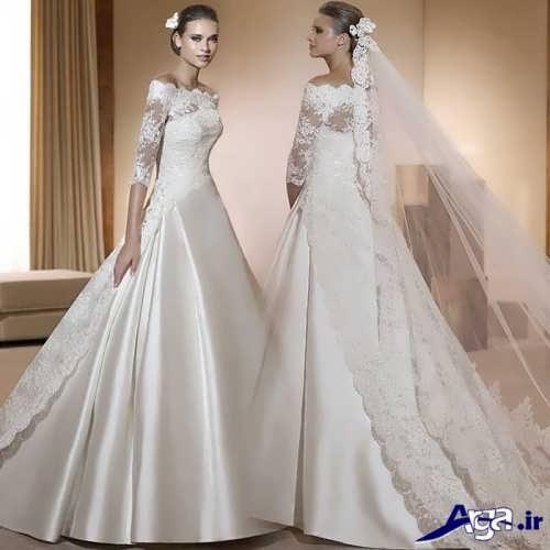 مدل لباس عروس ساتن و گیپور دار