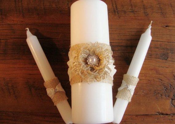 تزیین شمع با روبان به شکلی ساده