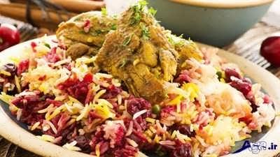 طرز تهیه آلبالو پلو با مرغ لذیذ و خوش طعم