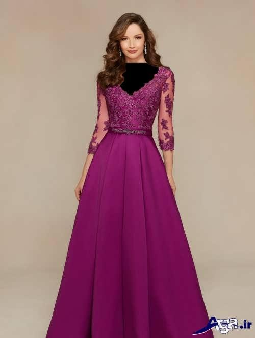 مدل لباس مجلسی بلند دانتل دار