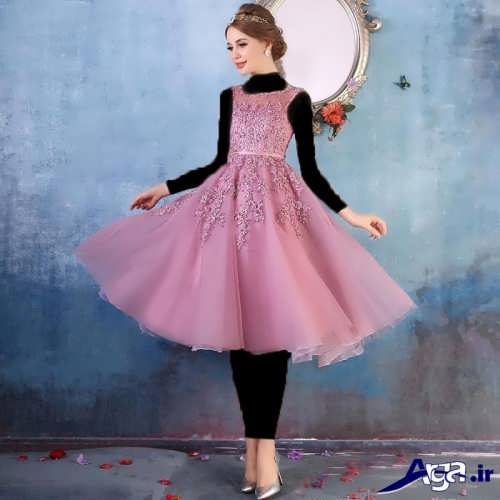 مدل لباس مجلسی دانتل دار کوتاه