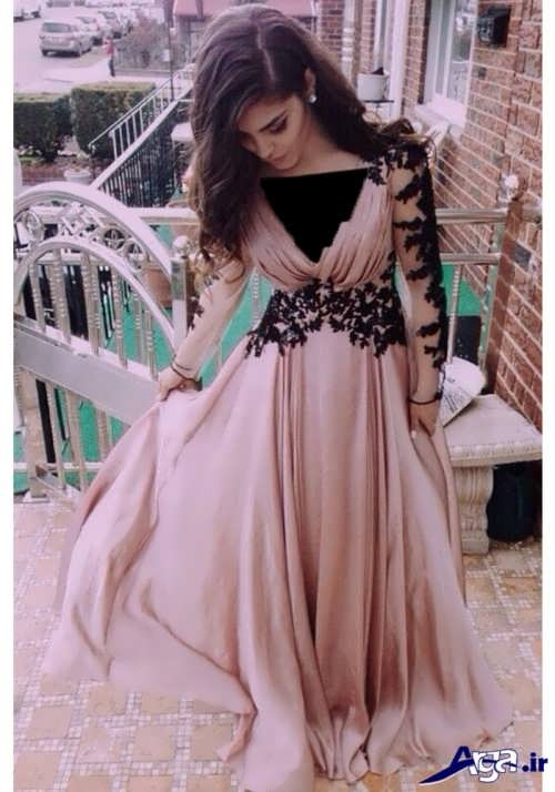 لباس مجلسی بلند دانتل دار
