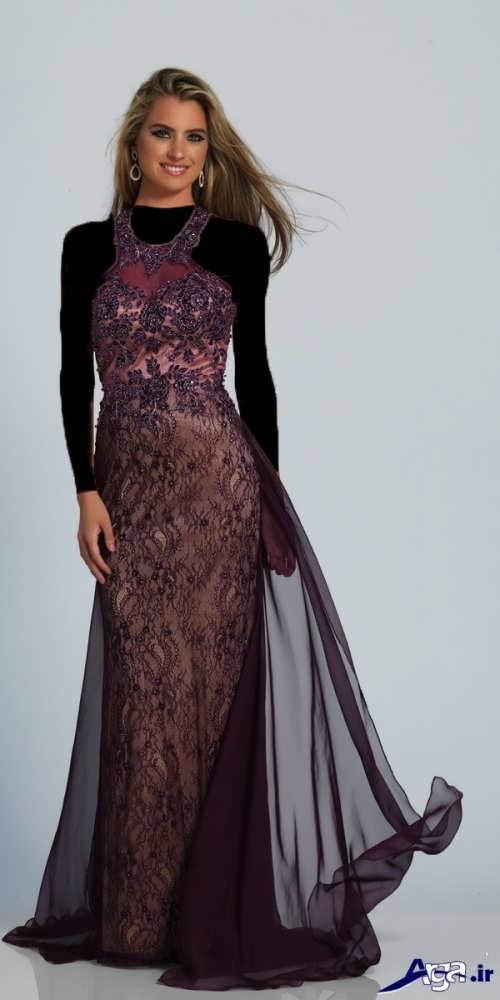 مدل لباس مجلسی کار شده با دانتل